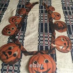 RARE! ANTIQUE 1930s Hanging PUMPKIN 62 Garland Double Sided Halloween