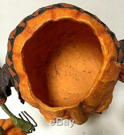 RARE Bethany Lowe Rucus Studio Scott Smith Party Pumpkin Halloween Candy Bowl