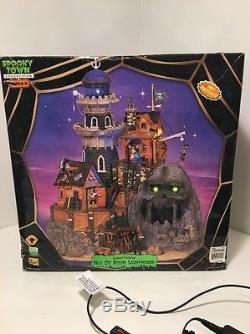RARE Lemax Spooky Town ISLE of DOOM LIGHTHOUSE Lighted Animated Sounds in Box