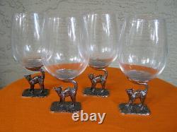 RARE! Set of 4 Pottery Barn BLACK CAT WINE GLASSES Goblets Handmade Halloween