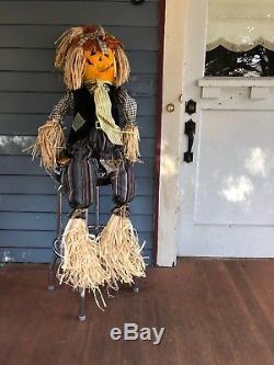 RARE Trendmasters LARGE FIBER OPTIC LIGHT Scarecrow Halloween Prop 48 Tall