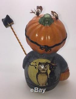 Rare Vaillancourt Chalkware 2009 Halloween Pumpkin Man/owl Mask