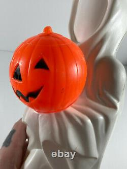 RARE Vintage Halloween Empire Blow Mold Ghost with Pumpkin