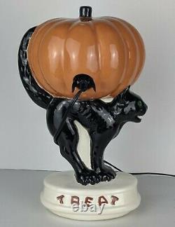 RARE Vintage LIGHT-UP Ceramic Halloween PUMPKIN Jack-O-Lantern on BLACK CAT JOL