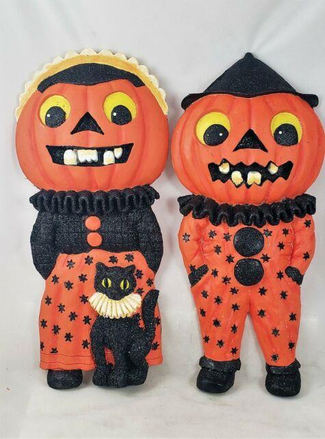 Radko Shiny Brite Halloween Pumpkin Kids Set Of 2 Wall Plaques 16 New Old Stock
