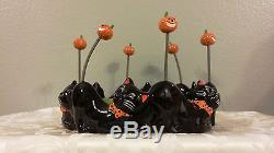 Rare Dept 56 Halloween Black Cat Spring Tail Jack O Lantern Large Dish 56.35570