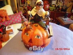 Rare Halloween Bethany Lowe Ride a Jack Pumpkin 2005 9.5x 7 tall