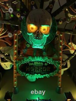 Rare Lemax Spooky Town The wheel Of Horror Carnival Ferris Wheel Skull Halloween