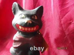 Rare Vintage Bethany Lowe Halloween Paper Mache Cat On Pumpkin Candy Container