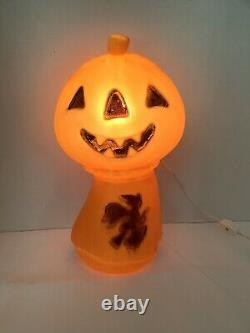 Rare Vintage Blow Mold Pumpkin with Witch Haystack Halloween 15