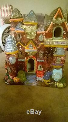 Resin Hand Painted Haunted Halloween Mansion