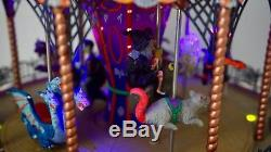 Retired Lemax Spooky Town Scare-ousel Animated Lights Halloween Carousel Village