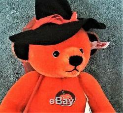 STEIFF HALLOWEEN TEDDY BEAR Japan LE of 1500 Orange Mohair Witch Broom Black Hat