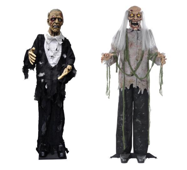 Set Of 2 Halloween Animated Life Size Zombie Corpse Haunted House Prop Decor