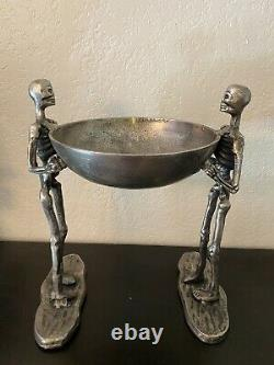 Silver Metal Skeletons Holding Bowl 15.5 Tall Halloween Haunted House Serving