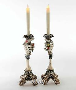 Skeleton Hand Jeweled Candle Holders Katherine's Collection Halloween Gothic