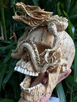 Skull Carved Wooden Realistic Human Huge Skull with Dragon Craving flexible Jaw