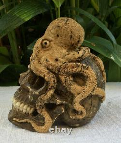 Skull Carved Wooden Realistic Human Skull Wood with Octopus Craving Oddities