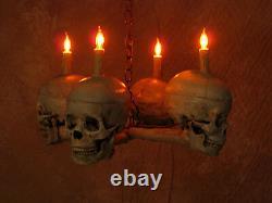 Skull Chandelier, Halloween Prop, Human Skeletons, NEW