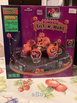 Spooky Town Lemax Signature Exclusive Halloween PUMPKIN TILT-N-HURL Animated New