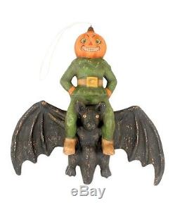 TD5060 Pumkin Head On Flying Bat Bethany Lowe Happy Halloween Collectible Figure