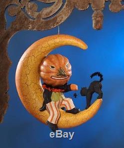 TWISTED JACK ON MOON Halloween Pumpkin Black Cat & Spider Bethany Lowe TJ6228