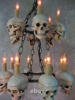 Two-Tiered Medium Skull Chandelier, Halloween Prop, Human Skeletons, NEW
