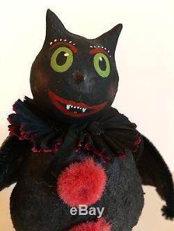 VINTAGE PRIMITIVE FOLK ART HALLOWEEN BAT ON JACK-O-LAMTERN PUMPKIN by Stacy Bear