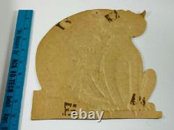 VTG 1930's Beistle Halloween Embossed Diecut Crying Cat on Fence Boot Moon