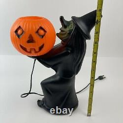 VTG Black WITCH Pumpkin Skull Light Halloween BLOW MOLD Plastic Halloween