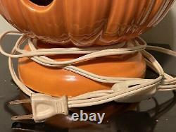 Vintage 1960s Large Ceramic Halloween light up Pumpkin Jack O lantern