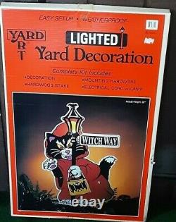 Vintage'90s Halloween Black Cat Bat Witch Way Yard Sign Decoration LampPost Bat