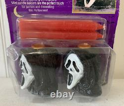 Vintage 90s SCREAM Movie GHOSTFACE Candle Holders! Halloween Decor Horror! New