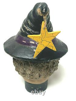Vintage Bethany Lowe Halloween Paper Mache Witch Faced Boot Candy Container