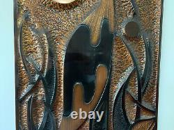 Vintage COPPER WALL ART Kakadu-Jabiru Signed Statement Piece STUNNING