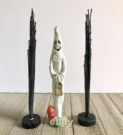 Vintage Ceramic Halloween Light Up Town New NIB Spooky Decoration Ghost Witch