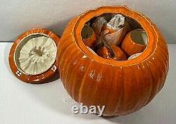 Vintage Ceramic Pumpkin Punch Lidded Bowl &10 Pumpkin Cups 12 Tall x 11.5 Dia