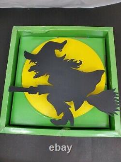 Vintage Cool Halloween Light Witch On Broom Yellow Moon Silhouette Atico