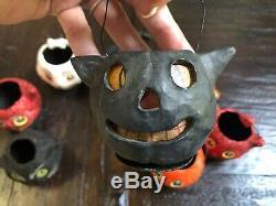 Vintage Dept. 56 Halloween Paper Mache Candy Bucket Pail Lot
