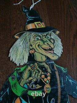 Vintage Die Cut 58 Jointed Halloween Witch by Beistle Hanging Decoration