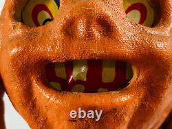Vintage Halloween 4 Paper Mache JOL Pumpkin Lantern with Insert jackolantern
