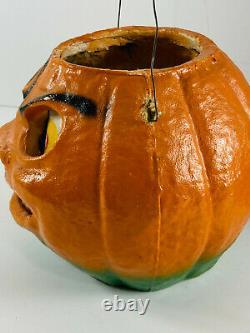 Vintage Halloween 6 Paper Mache Pumpkin Lantern with Insert SEE PICS