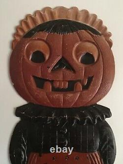 Vintage Halloween German Pumpkin Black Cat Die Cut Holiday Christmas