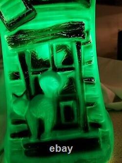 Vintage Halloween Green Haunted House Mansion Blow Mold Display Village Bayshore