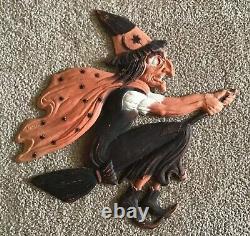 Vintage Halloween Orange & Black Witch On A Broom German Die Cut