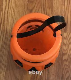 Vintage Halloween Pumpkin Plastic Blow Mold Trick or Treat Candy Pail Bucket
