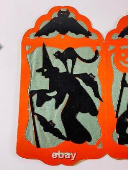Vintage Halloween RARE 30s Beistle Paper Lantern Bat Witch Black Cat NICE Diecut