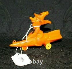 Vintage Halloween Rosbro Plastic Candy Container Witch on Rocket