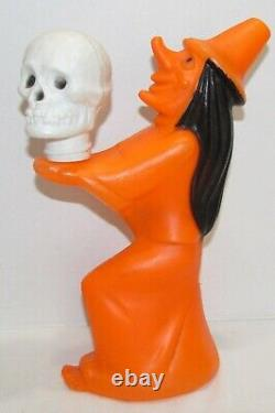 Vintage Halloween Witch Holding Skull Blow Mold Light, Tico Toys