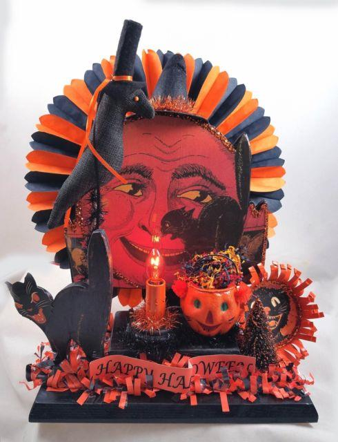 Vintage Happy Halloween Pumpkin Lighted Display Beistle Black Cat Made In Usa